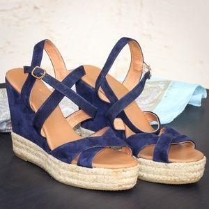 Blue Suede Maypol Espadrille Sandals Sz 38